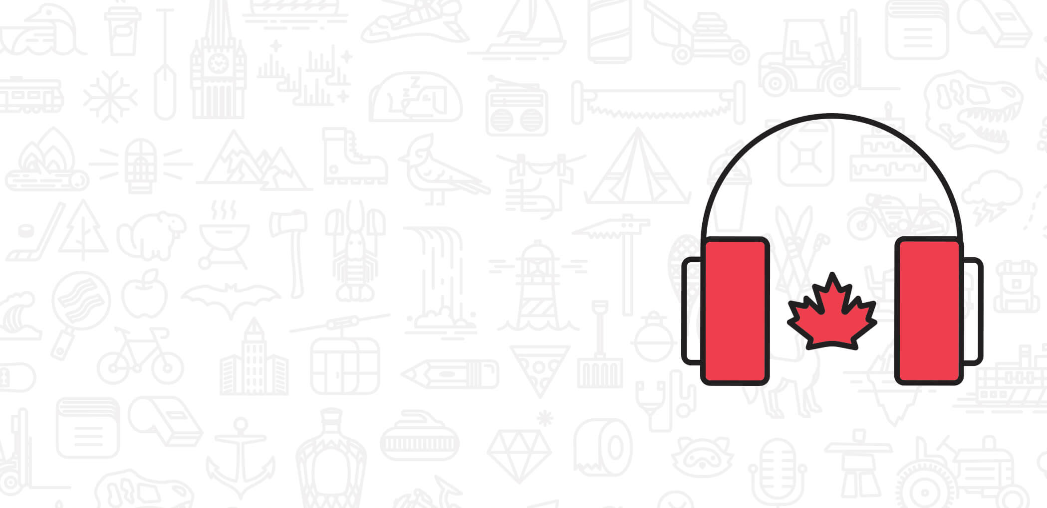 Light image of icons with large illustrated headphones